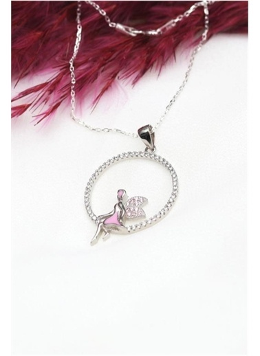 Enesstore Gümüş Pembe Taşlı Oturan Peri Gümüş Kolye Sevgiliye Hediye Beyaz